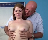 Horny young girl Ariel Stonem gets her pussy plugged with older man