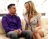 Mature blonde Brandi Love and young redhead Kiera Winters shares one hard cock