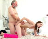 Young girl with small tits Tyna gets her pussy split by older man with big cock