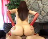 Hot MILF with big ass in red stockings gets a huge pole shoved in her pussy