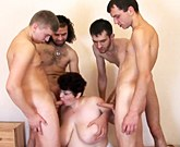 Russian mom with huge tits loves gangbang