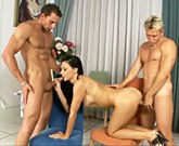 Hungarian brunette with big tits fucks in threesome