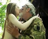 Oldje – Solitary Grandpa fucks with young blonde in the forest