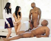 XXX Interracial Sex – Two young brunettes Ariana Marie and Megan Rain fucking with two black guys